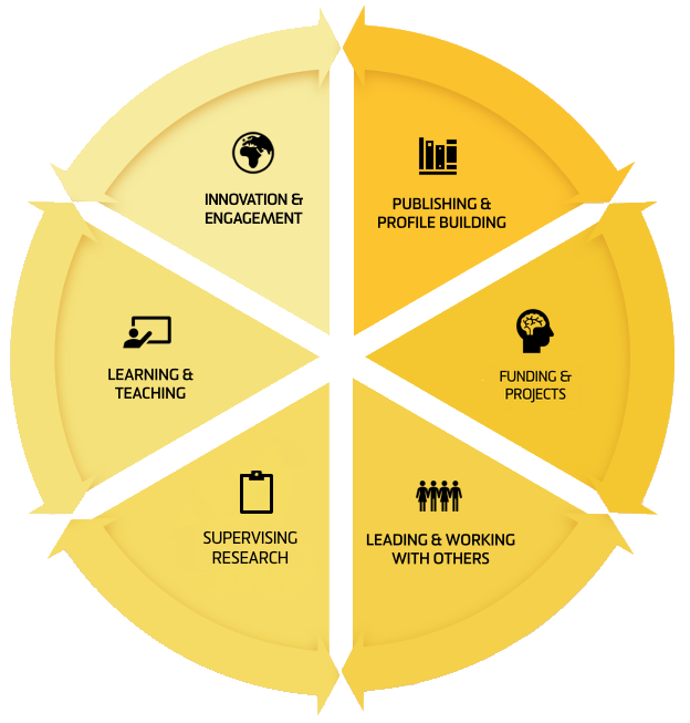A segmented wheel diagram displaying the six focus areas of the Extend Career Framework
